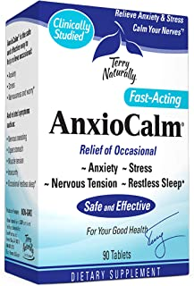 Terry Naturally AnxioCalm - 40 mg, 90 Tablets - Non-Addictive Anxiety & Stress Relief Supplement, Non-Drowsy, Worry, Restless Sleep - Non-GMO, Gluten-Free - 45 Servings