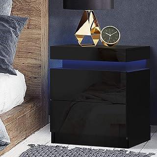 Artiss LED Bedside Table High Gloss Nightstand Black, 45(L) x 35(W) x 52.5(H)