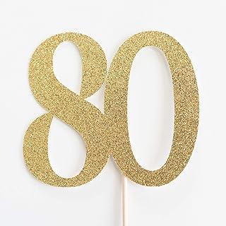 DKISEE Tarjeta con purpurina para 80 tartas, 80 cumpleaños, aniversario, ochenta, ochenta, purpurina dorada, decoración de...