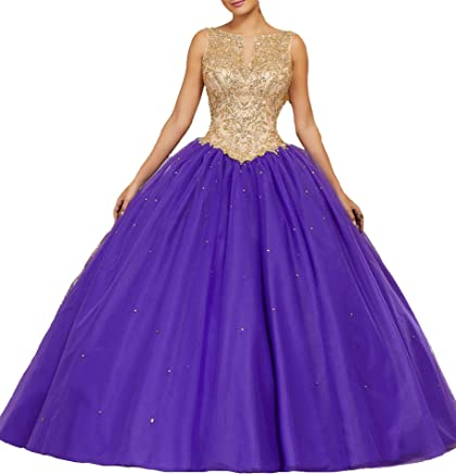cdf3629566 HuaMao Women s Beaded Lady Floor Length Pageant Prom Sweet 16 Quinceanera  Dresses