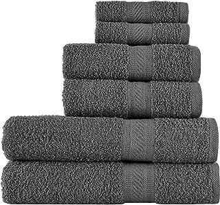 SweetNeedle - Uso diario Juego de toallas de 6 piezas, Carbón - 2 toallas de baño 70x140 CM, 2 toallas de mano 50x90 CM, 2...