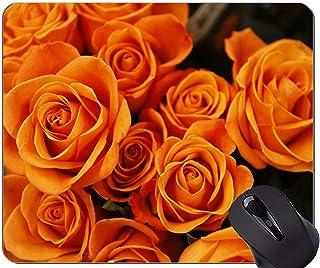 Gaming Mouse Pad Custom,Orange Flower Rose Flower -Stitched Edges