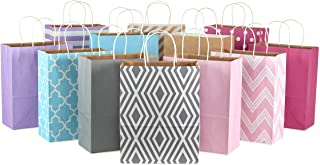 "Hallmark 12"" Large Paper Gift Bag Assortment, Pack of 12 in Pastel Pink, Lavender, Blue, Grey, Kraft - Solids and Patterns..."