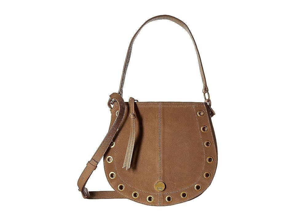 See by Chloe Kriss Small Suede Leather Hobo Bag (Nomad Beige) Hobo Handbags