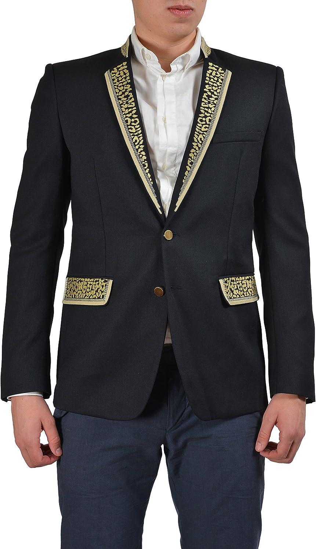Just Cavalli Men's Black Embellished Wool Sport Coat Blazer US 38 IT 48