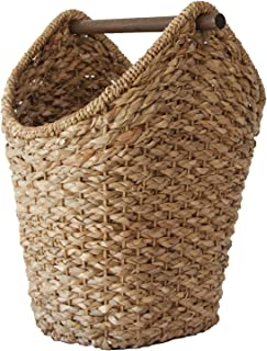 Creative Co-op Bankuan Braided Oval Toilet Paper Basket with Wood Bar