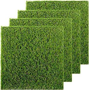 GOLDEN MOON Artificial Grass Turf Patch Tiles, 4 Pcs 12 x 12 Synthetic Grass Square Mats DIY Grass Decoration