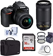 $634 » Nikon D3500 DX-Format DSLR Camera with 18-55mm and 70-300mm Lens, Black, Bundle with Bag, 16GB SD Card, Filter Pack, Clean...