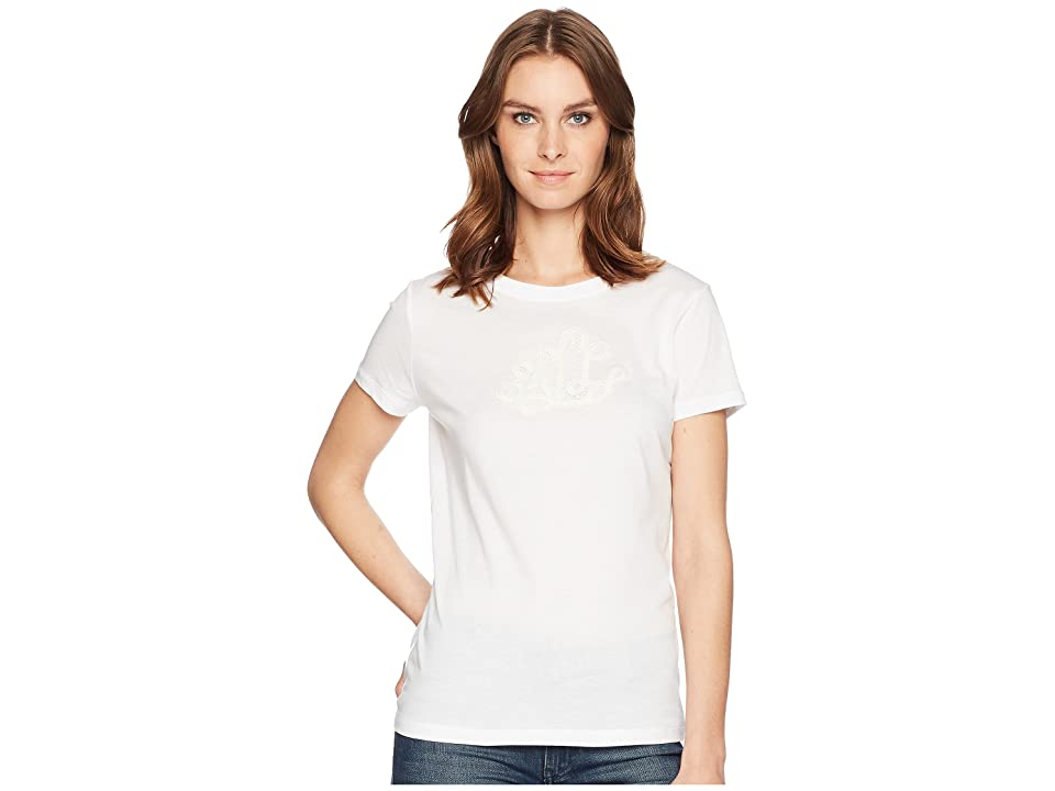 LAUREN Ralph Lauren Embroidered Monogram T-Shirt (Soft White) Women