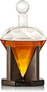 Hand Blown Diamond Whiskey Decanter: Lead Free Glass Designer Decanters with Custom Wood Stand & Airtight Stopper, Decorative Bar Set Tool for Scotch, Bourbon, Rum, Vodka, Wine, Liquors or Spirits