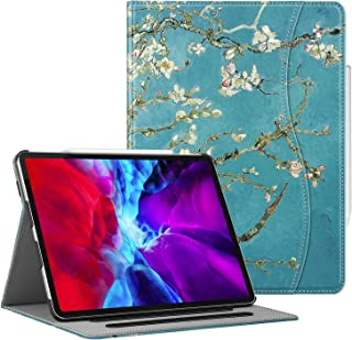 """CaseBot Case for iPad Pro 12.9"""" 4th & 3rd Generation 2020/2018 with Pencil Holder, Multi-Angle Folio Smart Stand Cover w/Pocket & Auto Sleep/Wake, Support Pencil 2nd Gen Charging (Blossom)"""