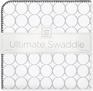 SwaddleDesigns Ultimate Swaddle, X-Large Receiving Blanket, Made in USA Premium Cotton Flannel, Mod Circles, Sterling (Mom's Choice Award Winner)