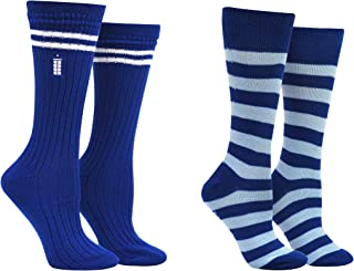 Doctor Who 13th Doctor Socks Merchandise (2 Pair) - (Women) 13th Dr Who Gifts Tardis Crew Socks - Fits Shoe Size: 4-10 (Ladies)