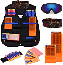 Kids Tactical Vest Kit for Nerf N-strike Elite Series with 50 Bullets Refill Darts + 2 Reload Clips + Face Tube Mask + Protective Glasses + hand wrist band