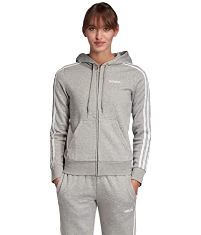adidas Essential 3 Stripes Fleece Full Zip Hoodie (Medium Grey Heather/White) Women