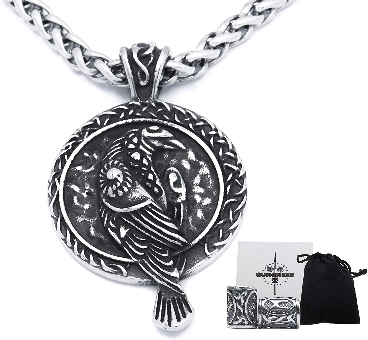 GUNGNEER Viking Raven Necklace for Men Women Odin Cow Jewelry Pagan Wiccan Pendant Stainless Steel Keel Chain Strong Amulet