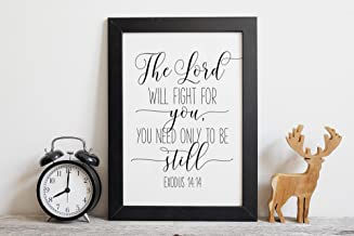 The Lord Will Fight For You You Need Only To Be Still Exodus 14:14 Bible Verse Prints Christian Wall Art Printable Scripture Wall Art Wood Pallet Design Wall Art Sign Plaque with Frame wooden sign