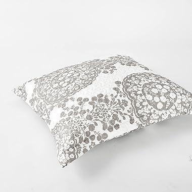 DriftAway Samantha Floral Damask Medallion Pattern Bedding Euro Pillow Sham 2 Pieces 26 Inch by 26 Inch Plus 1.5 Inch Flange
