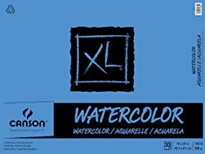 Canson Canson XL Series Watercolor Textured Paper Pad for Paint, Pencil, Ink, Charcoal, Pastel, and Acrylic, Fold Over, 14...