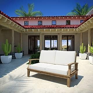 Modway EEI-1144-NAT-WHI-SET Marina Premium Grade A Teak Wood Outdoor Patio, Loveseat, Natural White