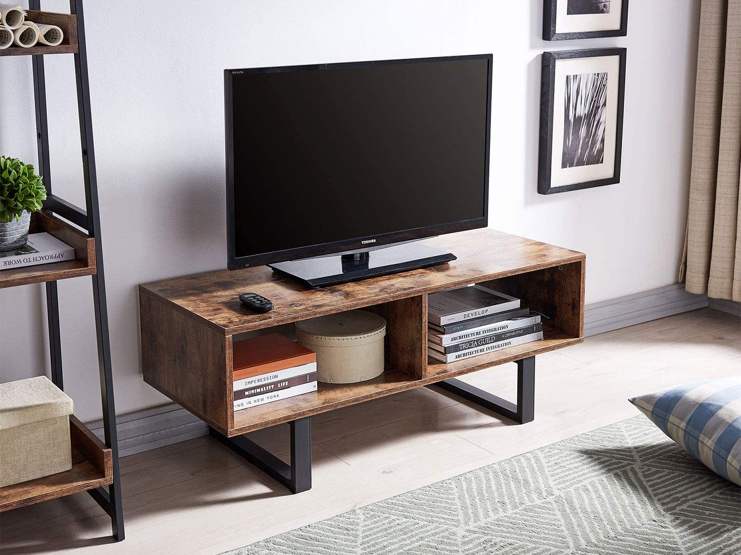 Amoak Industrial Tv Stand With Storage Shelf For Living Room Tv Console Storage Cabinet Retro Coffee Table Easy Assembly Retro Brown Kitchen Dining