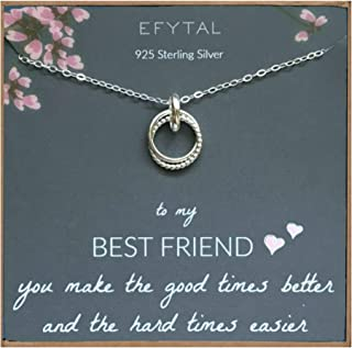 Best Friend Gifts, Sterling Silver Studded Ring Interlocking Infinity Circles Necklace, Friendship Necklaces, Jewelry Gift for BFF