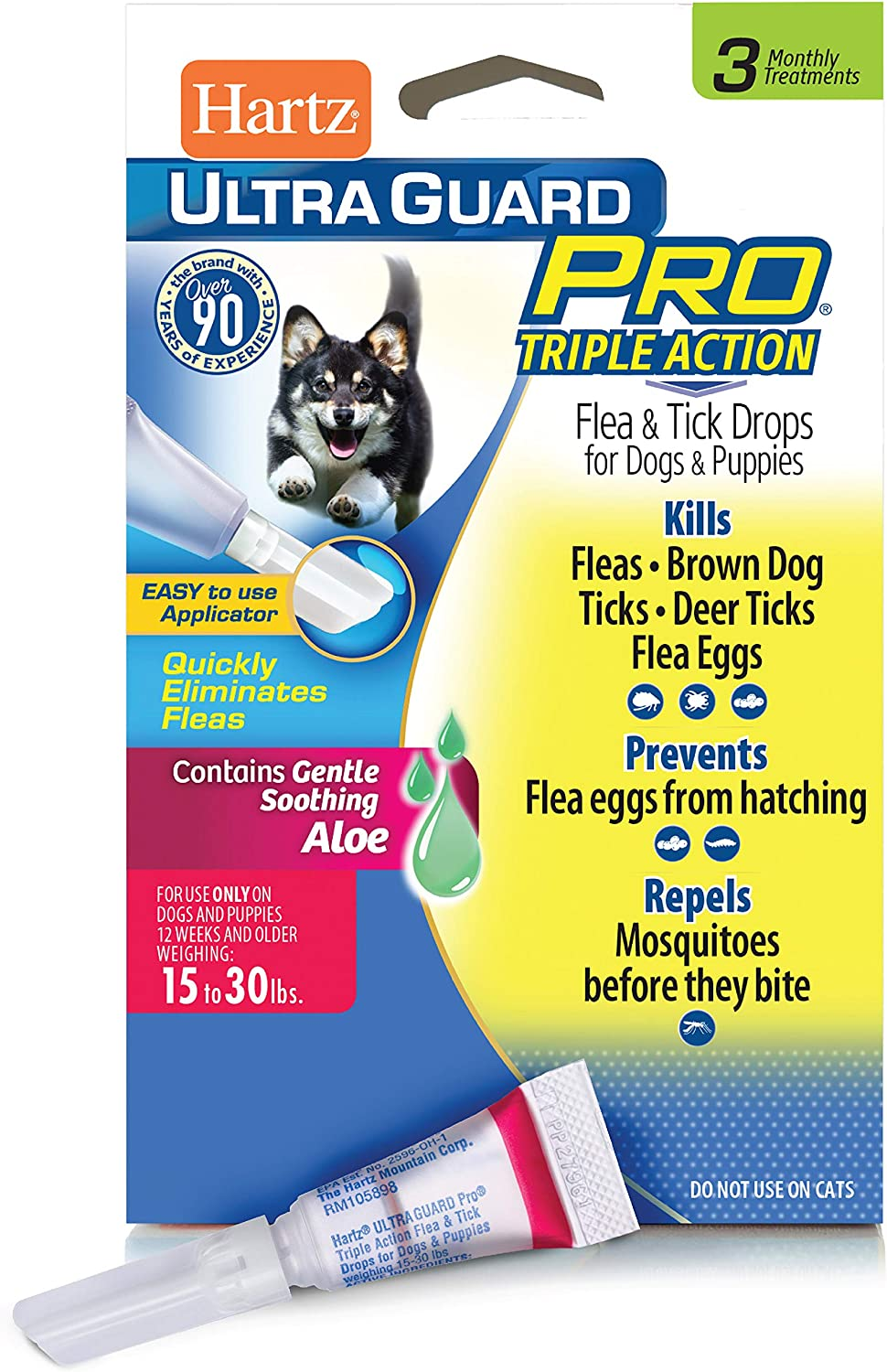 Hartz UltraGuard Pro Topical Flea & Tick Prevention for Dogs and Puppies - 15-30 lbs, 3 Monthly Treatments
