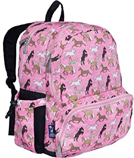 Wildkin 17 Inch Backpack, Durable Backpack with Padded Straps, Three Zippered Compartments, Moisture-Resistant Lining, and Two Side Pockets - Horses in Pink
