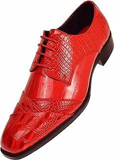 Bolano Bandit - Mens Croco Folded Cap Toe Oxford, Alligator Print EEL Skin Trim, Lace Tie, Original and Designer Style - Color: