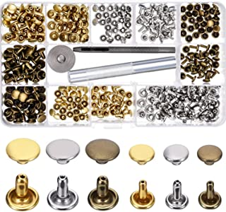 WXJ13 135 Sets 3 Sizes Single Cap Rivets Metal Leather Rivets with 3 Pieces Tool Kits for Rivets Replacement Leather Decoration