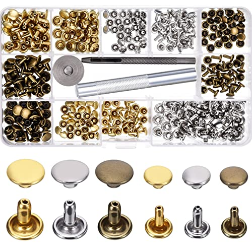 2ddce209c5c Bememo 180 Set 2 Sizes Leather Rivets Double Cap Rivet Tubular Metal Studs  with 3 Pieces