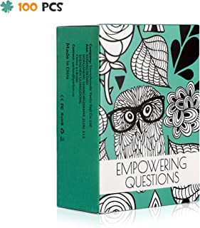 Yarkor Empowering Question Cards - 100 Questions for Mindfulness, Meditation, Writing, Self Care Cards, Thought-Provoking Cards
