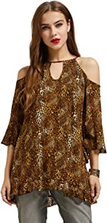 Printed Rayon Keyhole Neck Cold Shoulder 3/4 Bell Sleeve Tunic Top Plus Size