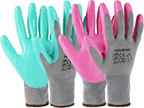 HAUSHOF 6 Pairs Garden Gloves for Women, Nitrile Coated Working Gloves, for Gardening, Restoration Work, Large, Pink & Gre...