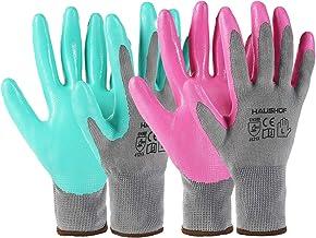 HAUSHOF 6 Pairs Garden Gloves for Women, Nitrile Coated Working Gloves, for Gardening, Restoration Work, Large, Pink & Green, M
