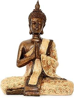 G6 Collection Serene Resin Sitting Buddha Statue Meditating Sculpture Figurine Decorative Home Decor Accent Art Traditional Modern Contemporary Oriental Decor Buddha Thailand Buddha (Hands in Chest)