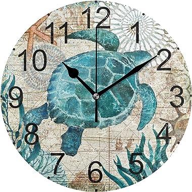LUCASE LEMON ALEX Blue Sea Turtle Nautical Map Round Acrylic Wall Clock Non Ticking Silent Clocks for Home Decor Living Room Kitchen Bedroom Office School, Plastic, Blue Sea Turtle, Medium