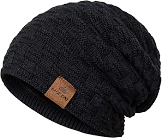 PAGE ONE Men Slouchy Beanie Hat Fashion Styles and Colors Fleece Lined Solid Winter Warm Knit Cap