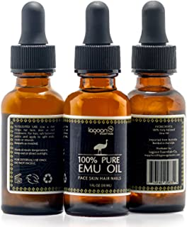 1# Emu Oil Pure 100% From Australia - For Hair Growth, Dry Skin, Nails, Wrinkles, Sunburns, Irritations, Scars, Acne, Stretch Marks, Burn Wounds, Piercings and Tattoos. Bottle (1 FL OZ) + Dropper.