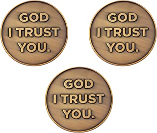 God I Trust You, Bulk Pack of 3, Proverbs 3:5-6 Christian Challenge Coins, Trust in The Lord with All Your Heart, Pocket T...