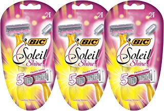 BIC Soleil Shine Women's 5-Blade Disposable Razor, 2 Count - Pack of 3 (6 Razors)