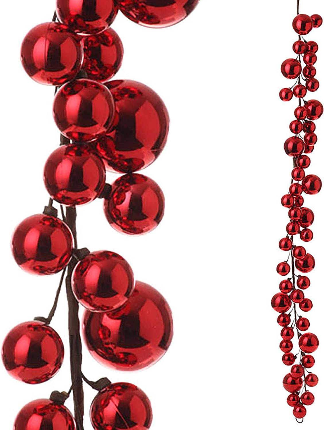 RAZ Imports - 4' Christmas Red Garland Max 72% OFF New products, world's highest quality popular! Ball