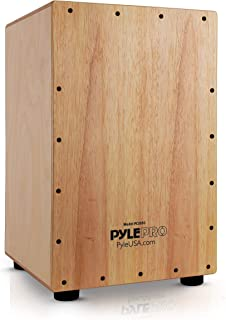 Pyle Wooden Hand Drum Percussion Beat Box-Hybrid Electronic Style Acoustic E-Cajon w/Built-in Pickup Connector, Internal Guitar Snare String PCJD50
