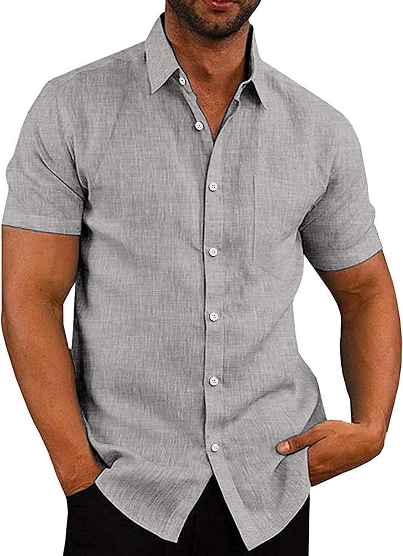 COOFANDY Men's Cotton Linen Shirt Regular Basic Fit Recommendation OFFicial D Plain Slim