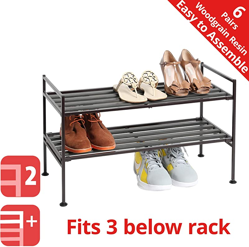 Seville Classics 2 Tier Stackable 6 Pair Woodgrain Resin Slat Shelf Sturdy Metal Frame Shoe Storage Rack Organizer Perfect For Bedroom Closet Entryway Dorm Room Espresso 1 Pack