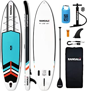 """RANGALii 11' Foot Inflatable SUP Stand Up Paddle Board(32"""" Wide, 6"""" Thick) Durable with Adjustable Paddle, Backpack, Pump ..."""