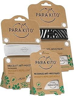 Para'kito Parakito - PROTECCION NATURAL ANTIMOSQUITO - KIT 2 x PULSERA repelente de mosquitos (Blanca y Negra) + 1 x Recarga Pulsera