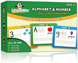 """Channie's Visual Dry Erase Alphabet & Numbers Flashcards, Tracing, Practicing & Writing, ALL In One Flash Cards Size 5.5"""" x 4.25 """", Ages 3 and Up, PreK – 1st"""