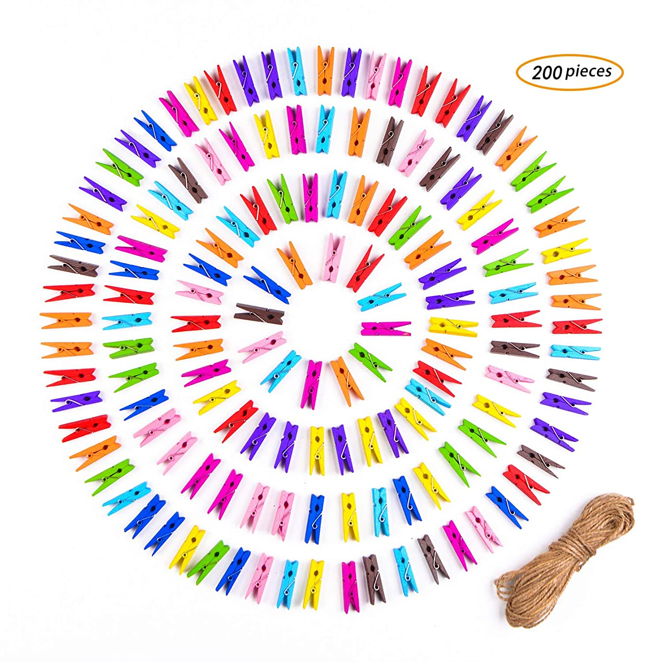 VANCOOL 200 Pieces Mini Natural Wooden Clothespins Photo Paper Peg Pin Craft Clips with Natural Twine