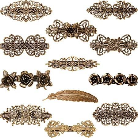 Vintage French Byzantine Style Thick Raw Brass Die Casting Bar Pin Barrette or Brooch Finding 1 Piece 349J